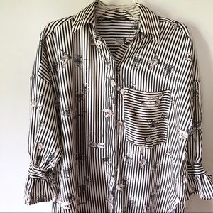 Zara Striped Dragonfly Tunic Blouse Tie Sleeves